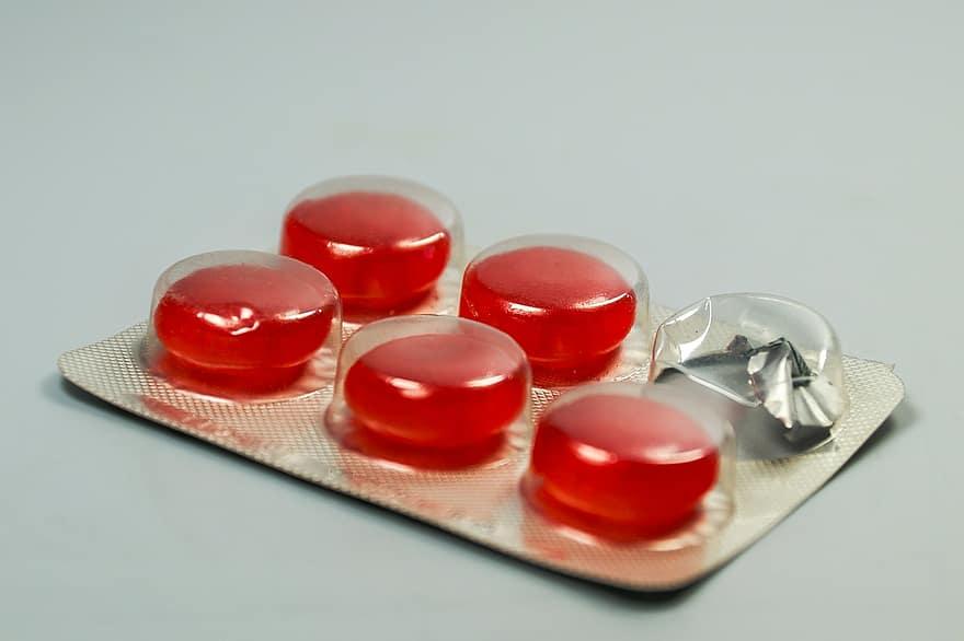 pastilė, tabletes, medicina, narkotikų, išgydyti, gripo, gerklės, kosulys