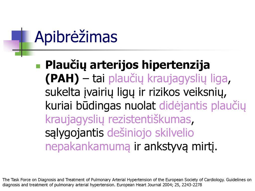 dešiniojo plaučio hipertenzija hipertenzija kaip civilizacijos liga