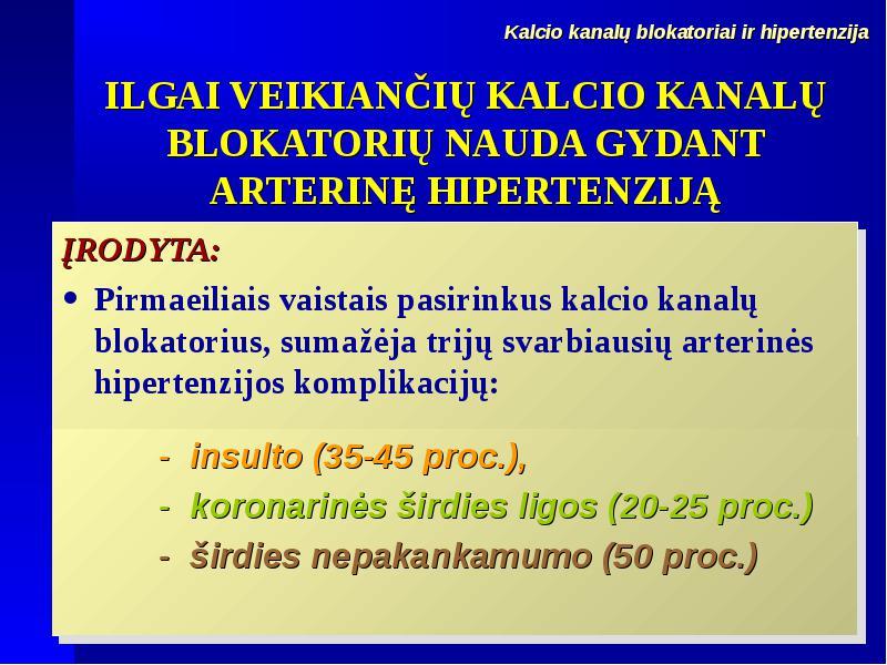 ilgai veikiantys hipertenzijos vaistai